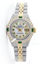 Rolex Ladies 2Tone 14K Gold/ Stainless Steel, Diam/Emerald Dial & Diam/Emerald Bezel, Saph Crystal - REF#338N2J