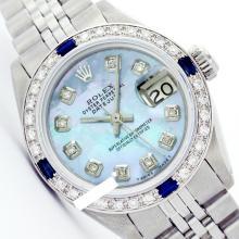 Rolex Ladies Stainless Steel, Diam Dial & Diam/Sapphire Bezel, Saph Crystal - REF#349X3G