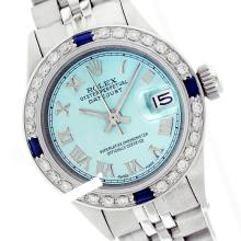 Rolex Ladies Stainless Steel, Roman Dial Diam/Sapphire Bezel, Saph Crystal - REF#316W4Z
