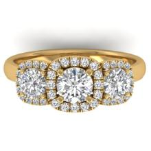 1.55 CTW Certified VS/SI Diamond Solitaire 3 Stone Ring 18K Gold - REF-205K3R - 32686