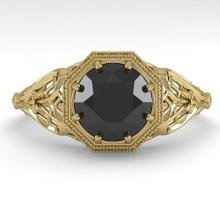 1.50 CTW Black Certified Diamond Engagment Ring Deco Size 7 Gold - REF-66X9Y - 29845