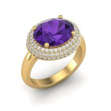 4 CTW Amethyst & Micro Pave VS/SI Diamond Certified Ring 18K Gold - REF-98M5F - 20903