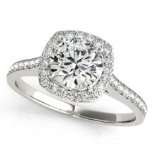 0.85 CTW Certified VS/SI Diamond Solitaire Halo Ring 14K White Gold - REF-109H6W - 24719