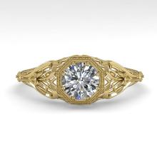 0.50 CTW VS/SI Diamond Solitaire Engagment Ring 14K Deco Size 7 Gold - REF-90R4K - 35620