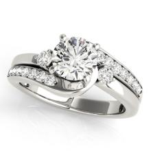 1.5 CTW Certified VS/SI Diamond Bypass Solitaire Ring 14K White Gold - REF-374R4K - 25547