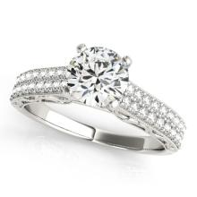 1.16 CTW Certified VS/SI Diamond Solitaire Antique Ring 14K White Gold - REF-196N4A - 25163