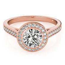 1.3 CTW Certified VS/SI Diamond Solitaire Halo Ring 14K Rose Gold - REF-300H8W - 24265