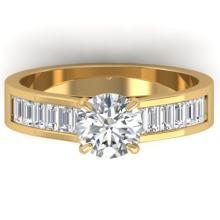 1.75 CTW Certified VS/SI Diamond Solitaire Art Deco Ring 18K Gold - REF-431A5N - 32608