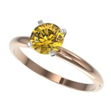 1 CTW Certified Intense Yellow Si Diamond Solitaire Engagment Ring Gold - REF-136N4A - 32893