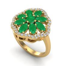 4 CTW Emerald & VS/SI Diamond Certified Cluster Designer Halo Ring Gold - REF-60W9H - 20780