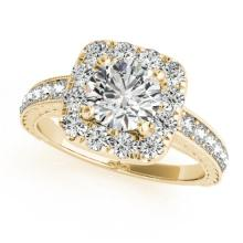 1.36 CTW Certified VS/SI Diamond Solitaire Halo Ring 14K Gold - REF-205N3A - 24398