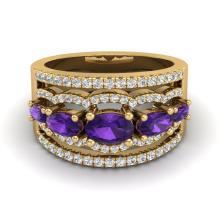 2.25 CTW Amethyst & Micro Pave VS/SI Diamond Certified Designer Ring Gold - REF-66Y9X - 20793