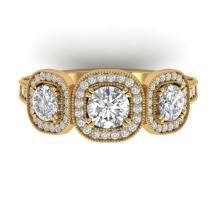 2.25 CTW Certified VS/SI Diamond 3 Stone Micro Halo Ring 18K Gold - REF-260W5H - 32698