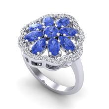 3 CTW Tanzanite & VS/SI Diamond Cluster Designer Halo Ring Gold - REF-67A5N - 20789