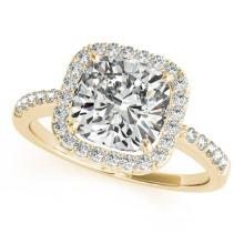 1.01 CTW Certified VS/SI Cushion Diamond Solitaire Halo Ring 14K Gold - REF-206H2W - 24964
