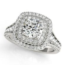 2 CTW Certified VS/SI Diamond Solitaire Halo Ring 14K White Gold - REF-414H9W - 24318