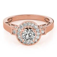 1.5 CTW Certified VS/SI Diamond Solitaire Halo Ring 14K Rose Gold - REF-373X8Y - 24933
