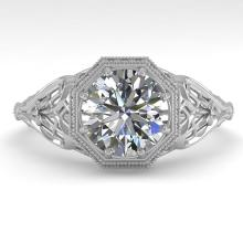 1.50 CTW VS/SI Diamond Solitaire Engagment Ring 14K Deco Size 7 Gold - REF-529X2Y - 29841