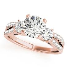 1.5 CTW Certified VS/SI Diamond 3 Stone Solitaire Ring 14K Rose Gold - REF-366W5H - 25875