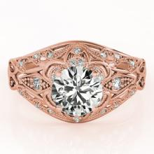 0.87 CTW Certified VS/SI Diamond Solitaire Antique Ring 14K Rose Gold - REF-121Y6X - 25182