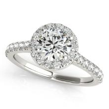 1.11 CTW Certified VS/SI Diamond Solitaire Halo Ring 14K White Gold - REF-183H8W - 24237