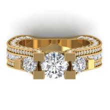 5.5 CTW Certified VS/SI Diamond Art Deco 3 Stone Micro Ring 18K Gold - REF-681R8K - 32554
