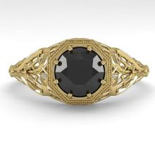 1.0 CTW Black Certified Diamond Engagment Ring Deco Size 7 Gold - REF-46K9R - 29830