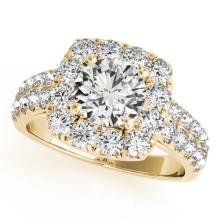 2 CTW Certified VS/SI Diamond Solitaire Halo Ring 14K Yellow Gold - REF-250R7K - 24290