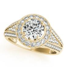 1.45 CTW Certified VS/SI Diamond Solitaire Halo Ring 14K Gold - REF-216H9W - 24565
