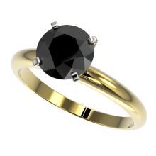 2 CTW Fancy Black VS Diamond Solitaire Engagment Ring Gold - REF-54F2M - 32937