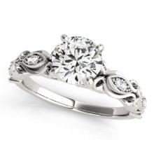 0.85 CTW Certified VS/SI Diamond Solitaire Antique Ring 14K White Gold - REF-176X2Y - 25118
