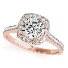 1.4 CTW Certified VS/SI Diamond Solitaire Halo Ring 14K Rose Gold - REF-361M8F - 24723