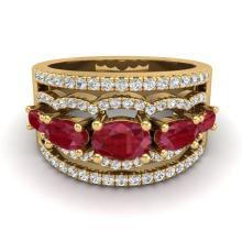 2.25 CTW Ruby & Micro Pave VS/SI Diamond Certified Designer Ring Gold - REF-71M3F - 20803