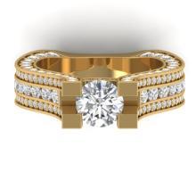 4.5 CTW Certified VS/SI Diamond Art Deco Micro Ring 18K Yellow Gold - REF-611M5H - 32545