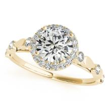 0.75 CTW Certified VS/SI Diamond Solitaire Halo Ring 14K Yellow Gold - REF-104Y5K - 24257