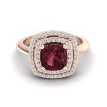 2.27 CTW Garnet & Micro VS/SI Diamond Pave Halo Ring 14K Rose Gold - REF-55N3Y - 20761