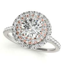 1.5 CTW Certified VS/SI Diamond Solitaire Halo Ring 14K White & Rose Gold - REF-369H8A - 24076