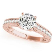 1.07 CTW Certified VS/SI Diamond Solitaire Ring 14K Rose Gold - REF-182H4A - 25404