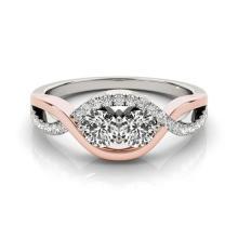 0.88 CTW Certified VS/SI Diamond 2 Stone Ring 14K White & Rose Gold - REF-118T2M - 26029