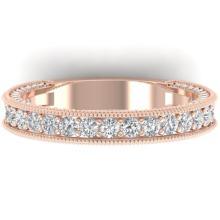 1.25 CTW VS/SI Diamond Art Deco Eternity Band Ring 18K Rose Gold - REF-128A2X - 32580