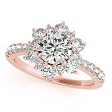 2 CTW Certified VS/SI Diamond Solitaire Halo Ring 14K Rose Gold - REF-434K5W - 24352