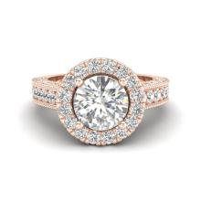 2.25 CTW Vintage Solitaire VS/SI Diamond Engagement Halo Ring 14K Rose Gold - REF-541K8W - 21116