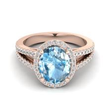 3 Sky Blue Topaz & Micro VS/SI Diamond Halo Solitaire Ring 14K Rose Gold - REF-60N9Y - 20932