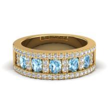 2 CTW Topaz & Micro Pave VS/SI Diamond Designer Inspired Band Ring 10K Yellow Gold - REF-60W4F - 20820