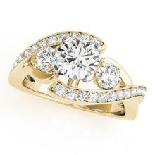 2.01 CTW Certified VS/SI Diamond Bypass Solitaire Ring 14K Yellow Gold - REF-532A4X - 25519