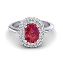 2.50 CTW Ruby With Micro VS/SI Diamond Ring Halo Solitaire 14K White Gold - REF-68X2T - 20749