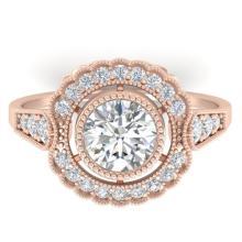 1.55 CTW Certified VS/SI Diamond Solitaire Art Deco Ring 18K Rose Gold - REF-382F8N - 32796