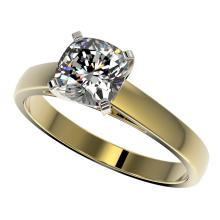 1.25 CTW Certified VS/SI Quality Cushion Cut Diamond Solitaire Ring 10K Yellow Gold - REF-372X3T - 33018
