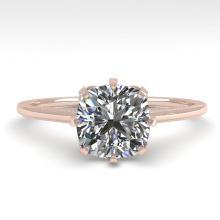 1.0 CTW Certified VS/SI Cushion Diamond Ring 14K Rose Gold - REF-274N4Y - 29600
