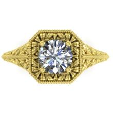 1 CTW Solitaire Certified VS/SI Diamond Ring 18K Yellow Gold - REF-296W3F - 32827